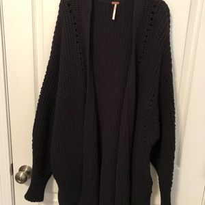 Free People chunky cable knit sweater black S